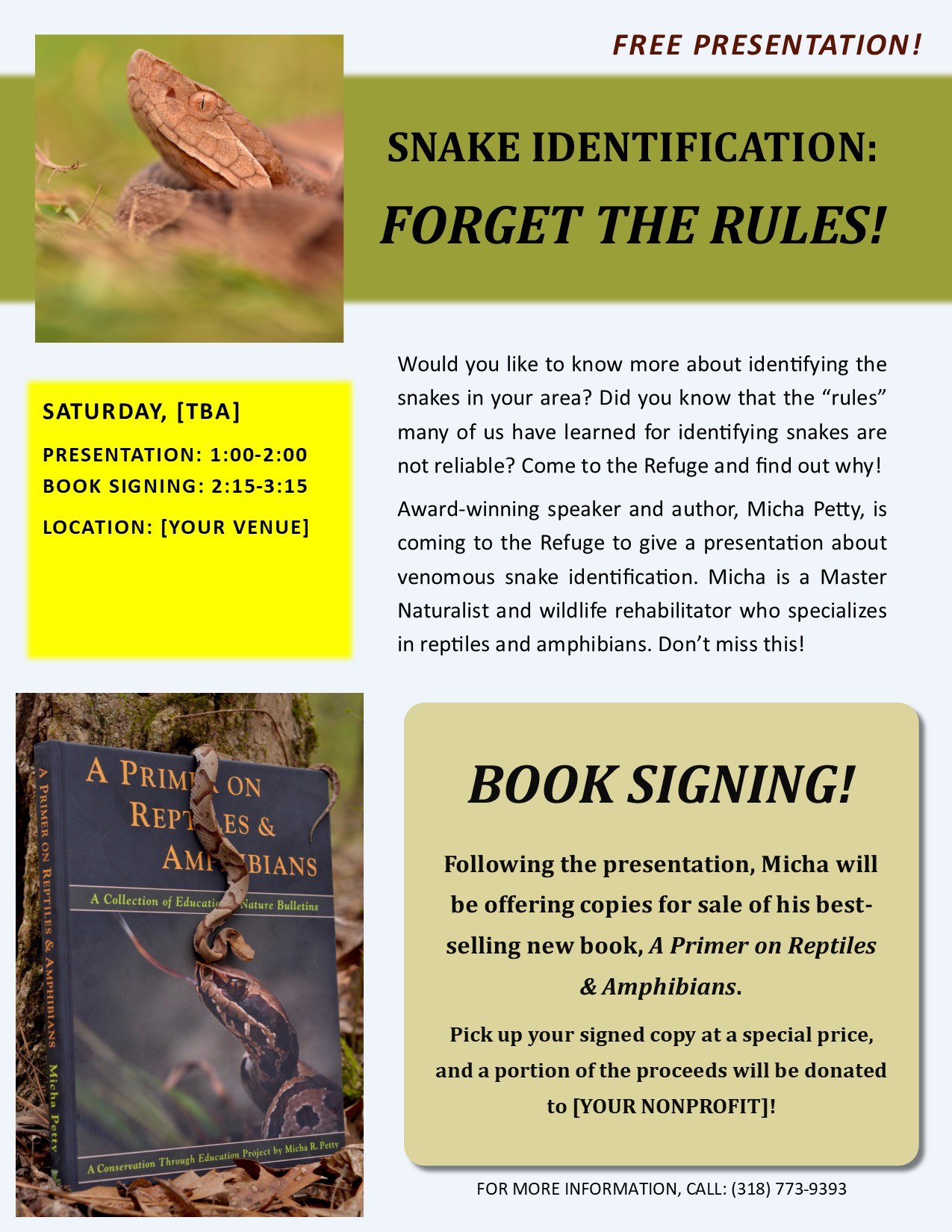 Presentation and Book Signing Sample Flyer